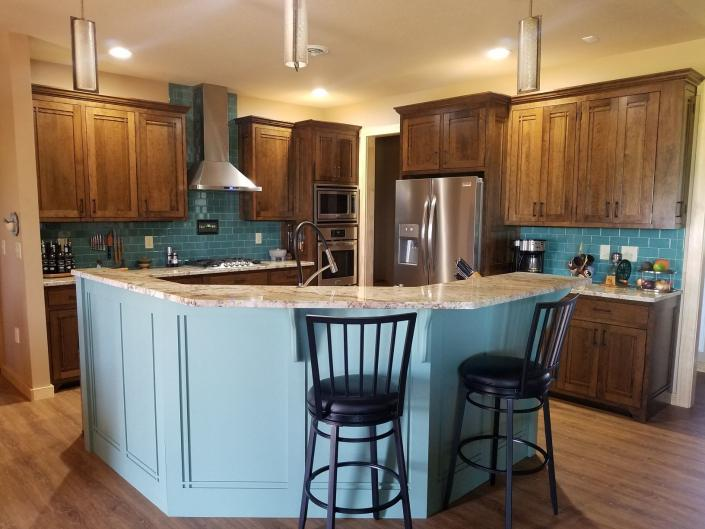 kitchen with accent island